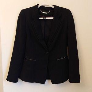WHBM Black Zipper Pocket Blazer Jacket Size 4